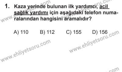 2 Kasım 2013 Tarihli Sürücü Adayları Sınavı K Kitapçığı 1. Soru